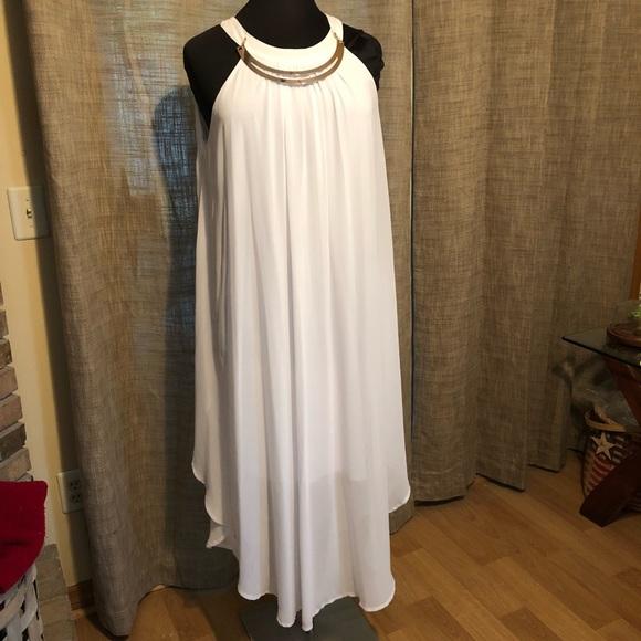 Plus Size 18/20 Grecian Style White Dress NWT